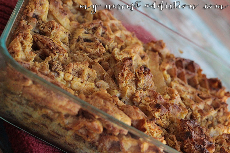 Easy Bread Pudding using Aunt Jemima Frozen Waffles