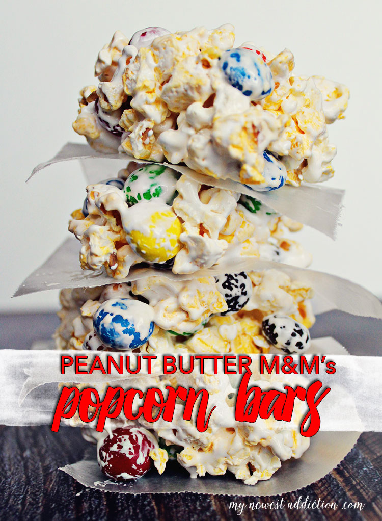 PEANUT BUTTER M&M's PopCorn Bars Recipe