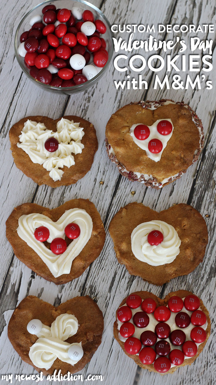 Custom Decorate Valentine's Day Cookies with Cream Cheese Frosting and M&M's!