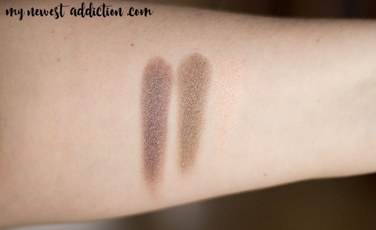 MAC Extra Dimension Eyeshadows | Silver Dawn, Stolen Moment, A Natural Flirt Swatches