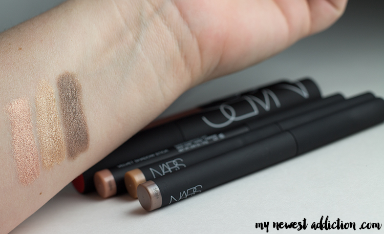 NARS Velvet Shadow Stick | Oaxaca, Hollywoodland, Goddess Swatches