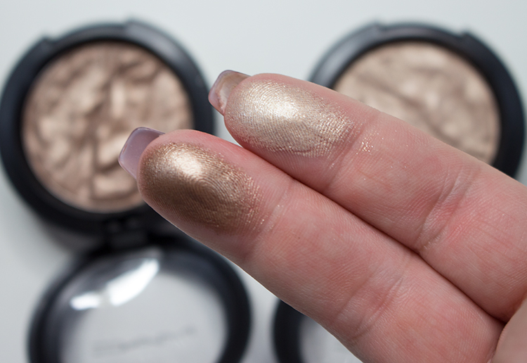 MAC Faerie Whispers Foiled Eyeshadow swatch of Enchanted Forest and Fairy Land