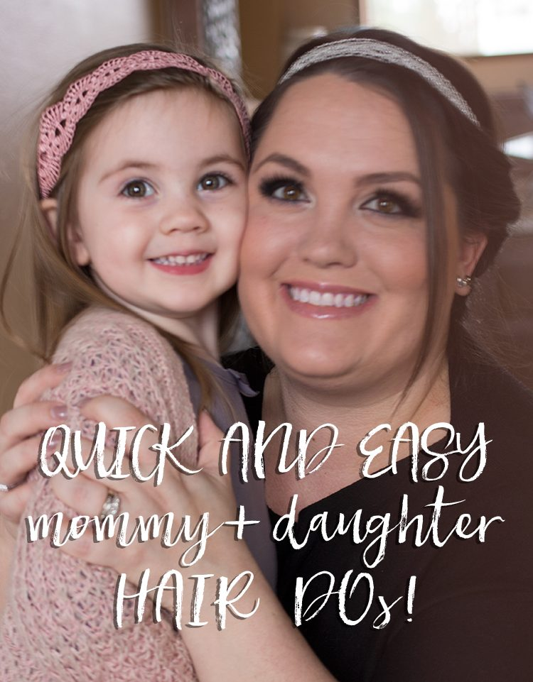 Quick and easy mommy + daughter hair dos! Sometimes you only have a few minutes to spend on getting your hair beautiful for a party or even just a day of shopping.