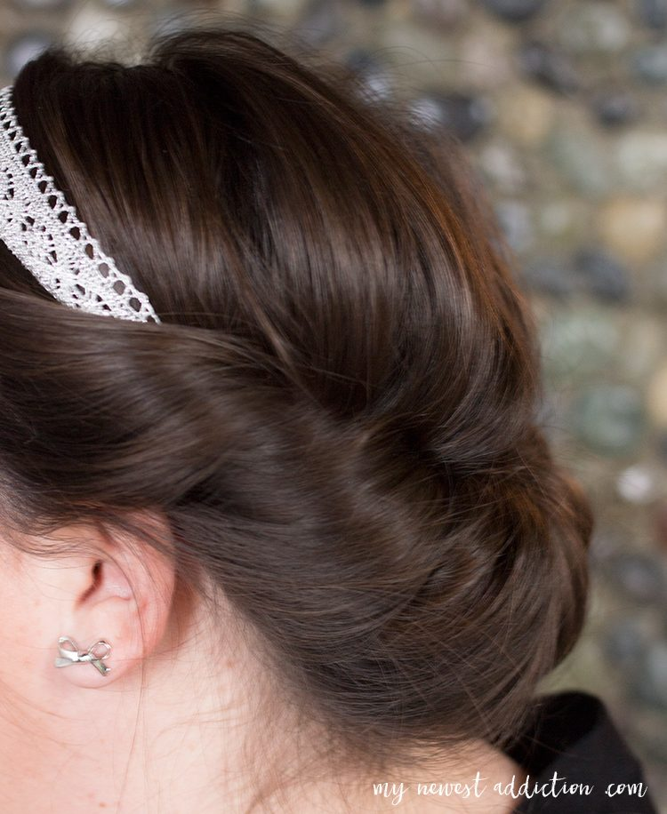 Quick and easy rolled updo in a Goody headband.