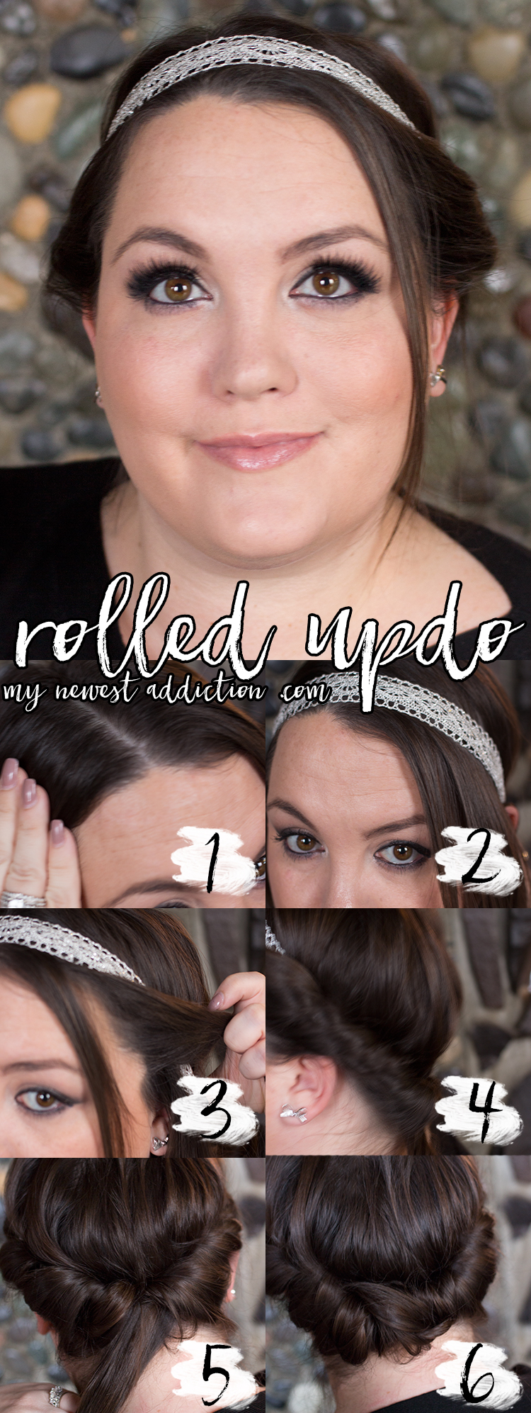Quick and easy rolled updo in a Goody Headwrap.