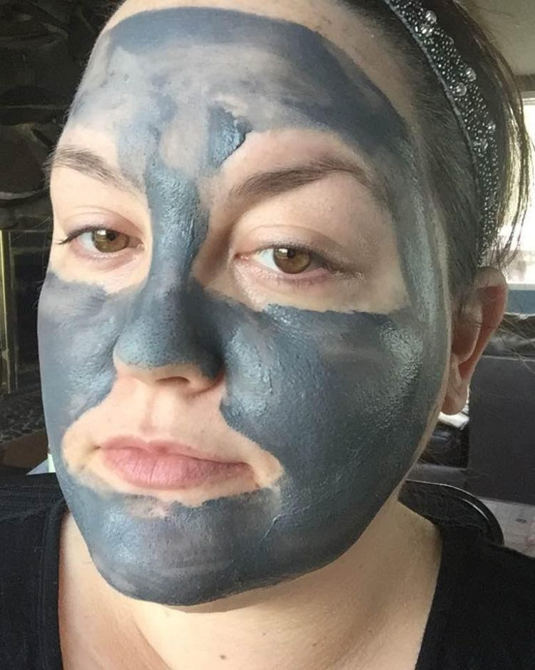 Pixi Glow Mud Mask on the face