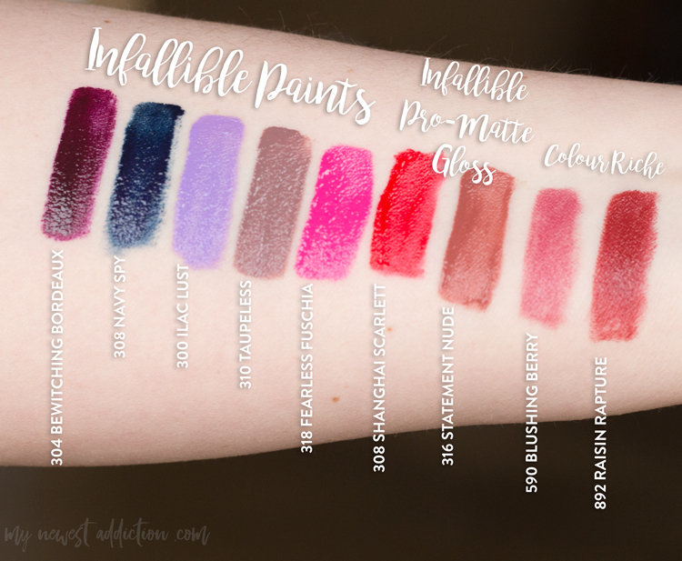 L'Oreal Lip Color Swatches